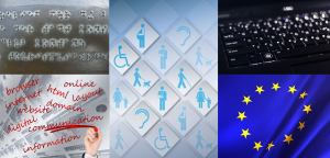 Mosaic with Braille, keyboard, the European flag, icons representing disability and an image with words related to information